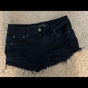 American eagle black ripped shorts